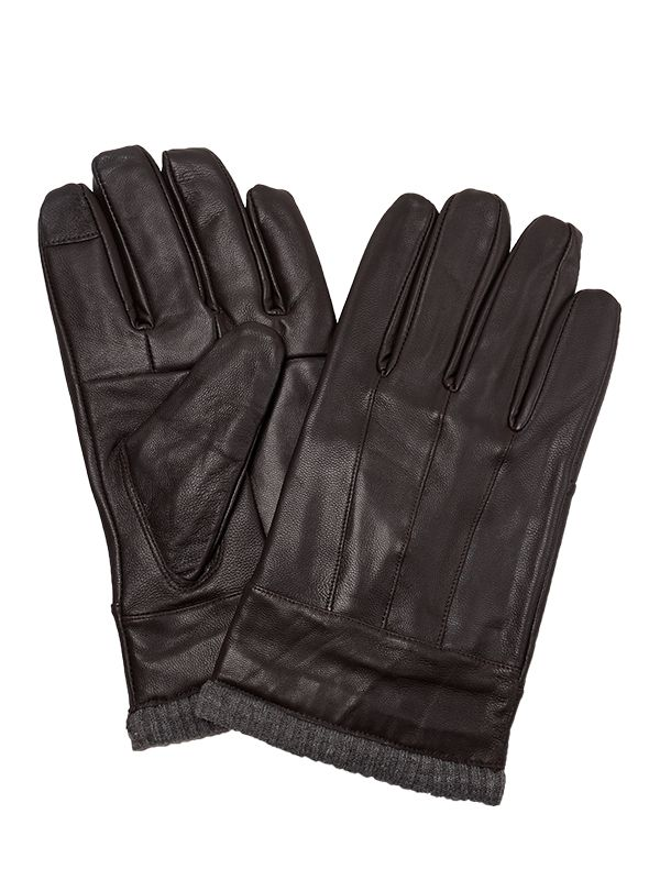 MEN LEATHER GLOVES WITH RIBBED TRIMS