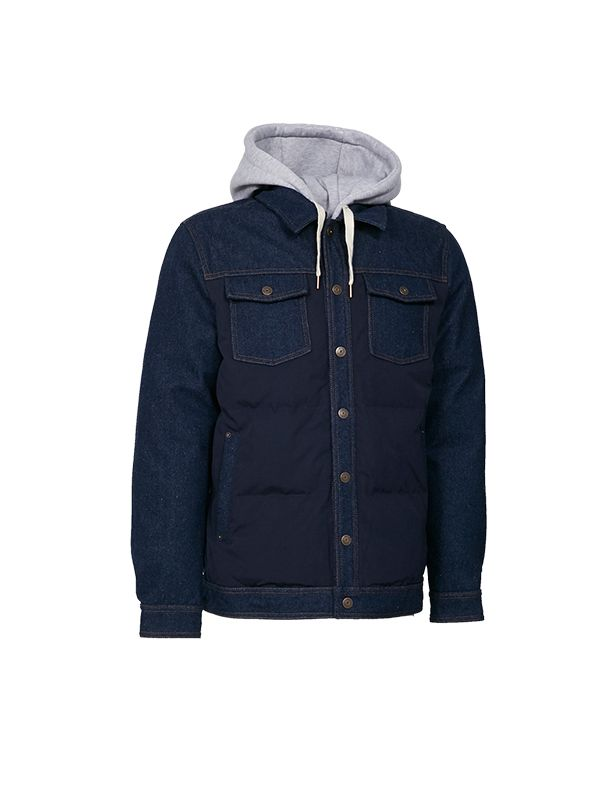 SHORT DENIM DOWN JACKET WITH DETACHABLE HOOD