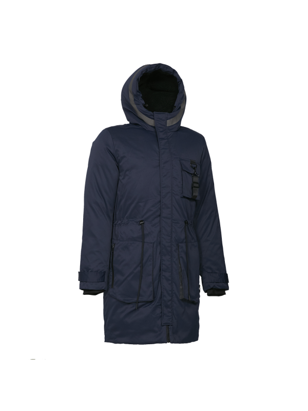 MEN-TRENDY DOWN PARKA JACKET WITH REFLECTIVE PRINT