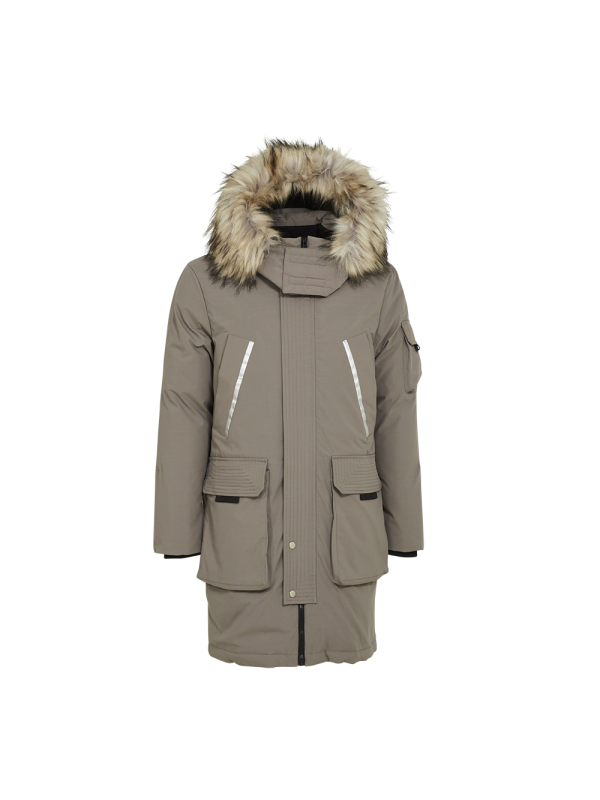 TRENDY DOWN PARKA JACKET WITH REFLECTIVE PRINT