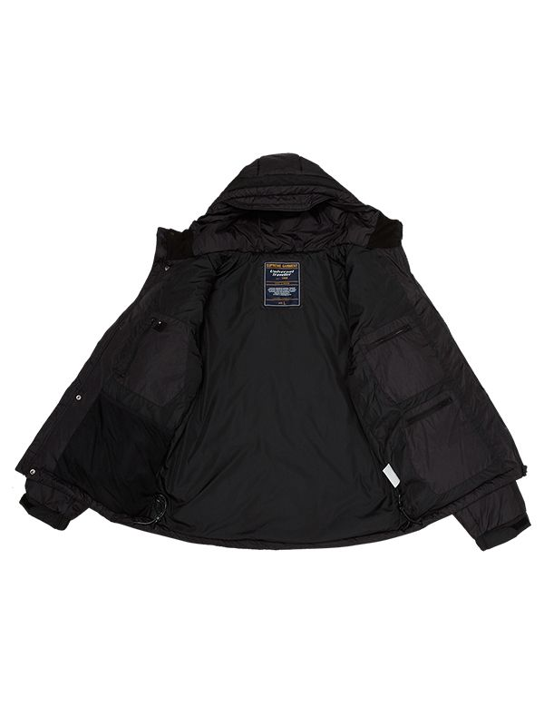 FITTED TRENDY DOWN PARKA JACKET WITH REFLECTIVE PRINT