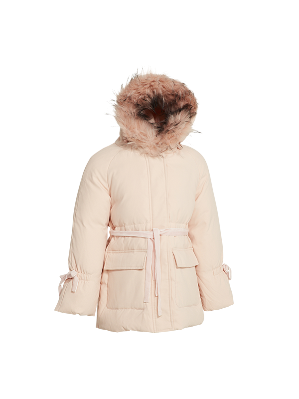 DOWN JACKET WITH ADJUSTED WAIST RIBBON