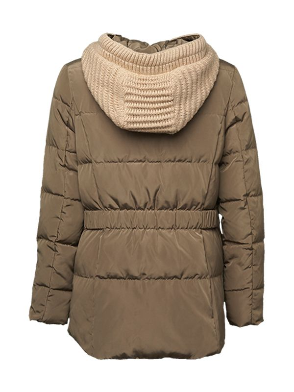 CLASSIC CABLE KNIT HOOD DOWN JACKET