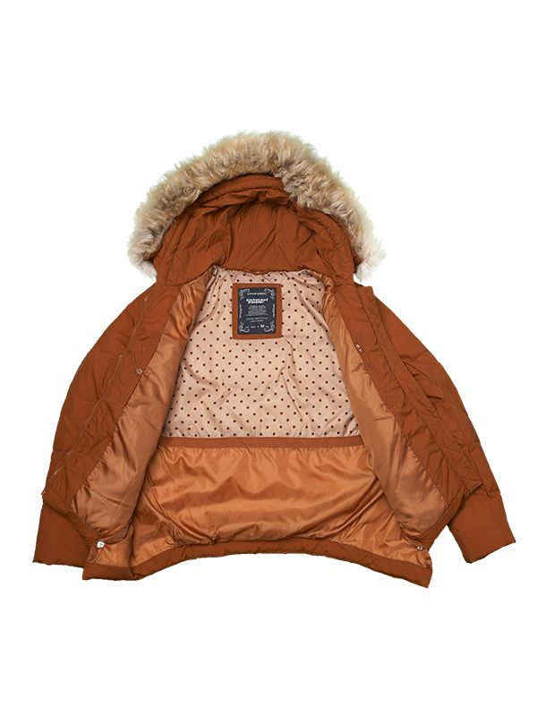 SHORT CLASSIC FAUX FUR DOWN JACKET