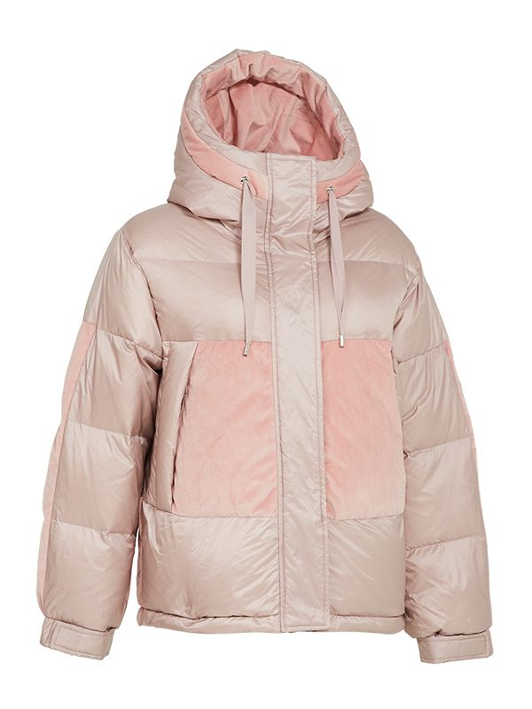 SHORT TRENDY DOWN PARKA JACKET WITH CONTRAST FABRIC