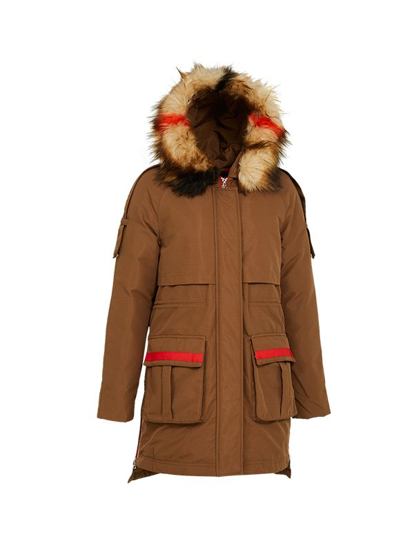 TRENDY DOWN JACKET WITH CONTRAST HOOD FUR