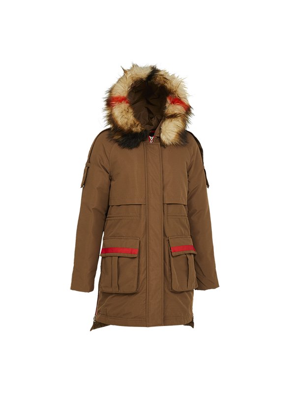 TRENDY DOWN PARKA JACKET WITH CONTRAST HOOD FUR