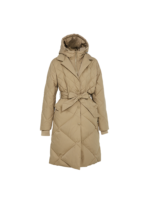 TRENDY COAT STYLE DOWN PARKA JACKET WITH DETACHABLE BIB WITH HOOD