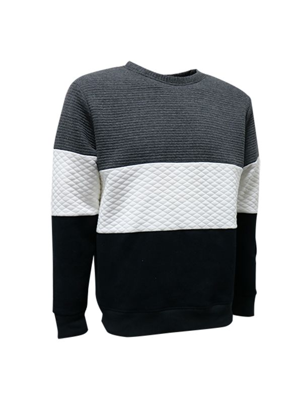 MEN MIXED-FABRICATION FLEECE SWEATER