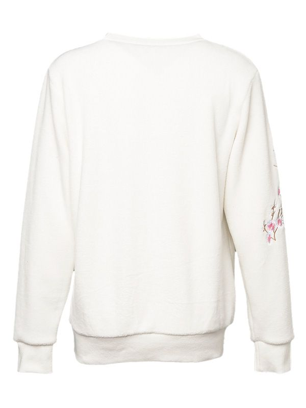 WOMEN FLORAL EMBROIDERY FLEECE PULL OVER