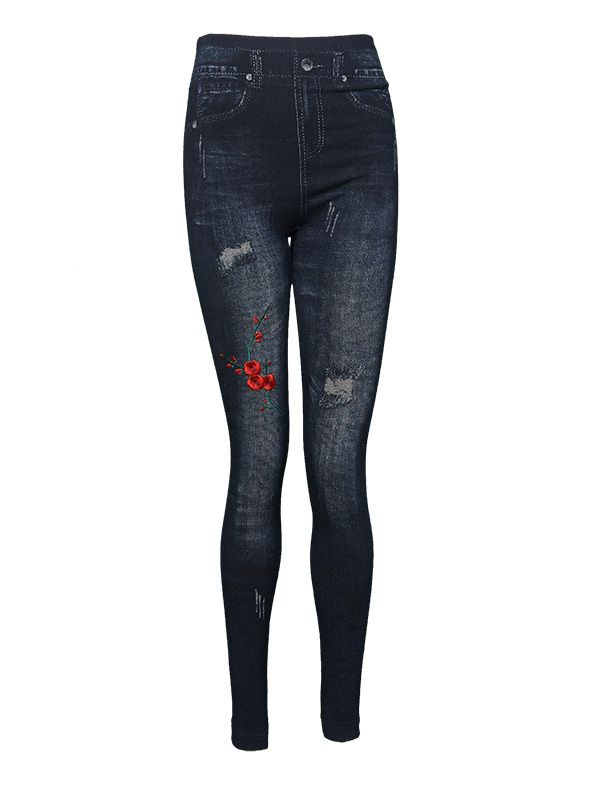 WOMEN LIGHT DENIM EMBROIDERY FLEECE JEGGINGS