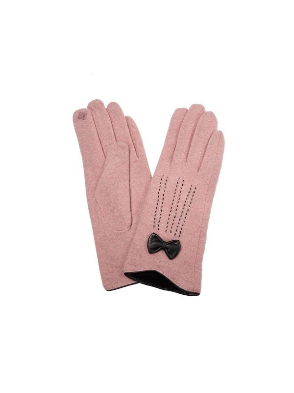 WOMEN TOUCH SCREEN WOOL GLOVES WITH RIBBON