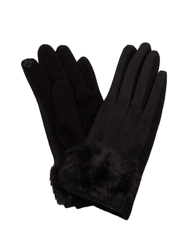 WOMEN TOUCH SCREEN WOOL GLOVES WITH FAUX FUR