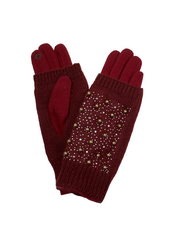 WOMEN 2 IN 1 WOOL KNIT GLOVES WITH EMBELLISMENT