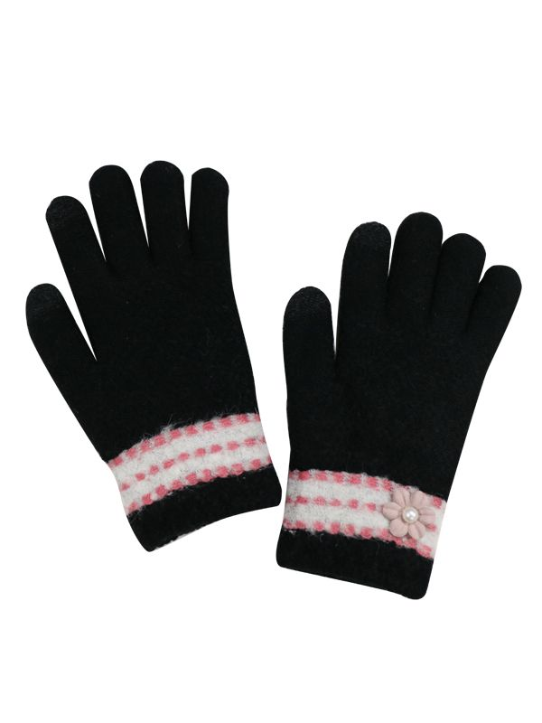 TOUCH SCREEN PATTERN KNIT GLOVES WITH FLEECE LINING