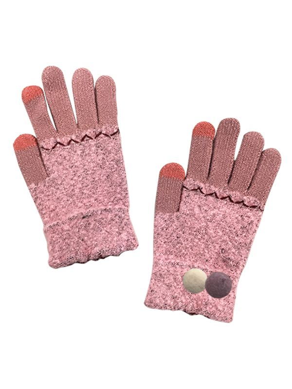 TOUCH SCREEN CONTRAST KNIT GLOVE WITH POMPOM