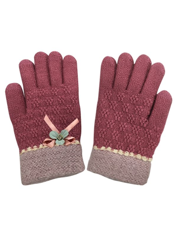 TOUCH SCREEN KNIT GLOVES WITH FLOWER RIBBON