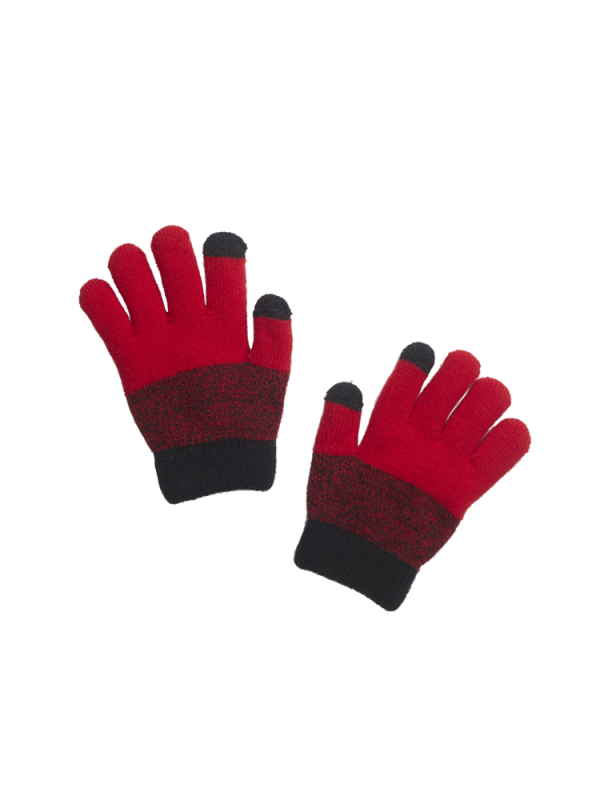 BOY TONE ON TONE KNITTED GLOVES WITH FLEECE LINING