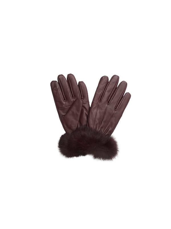 SHEEP SKIN LEATHER GLOVES WITH ANGORA FUR ON CUFF