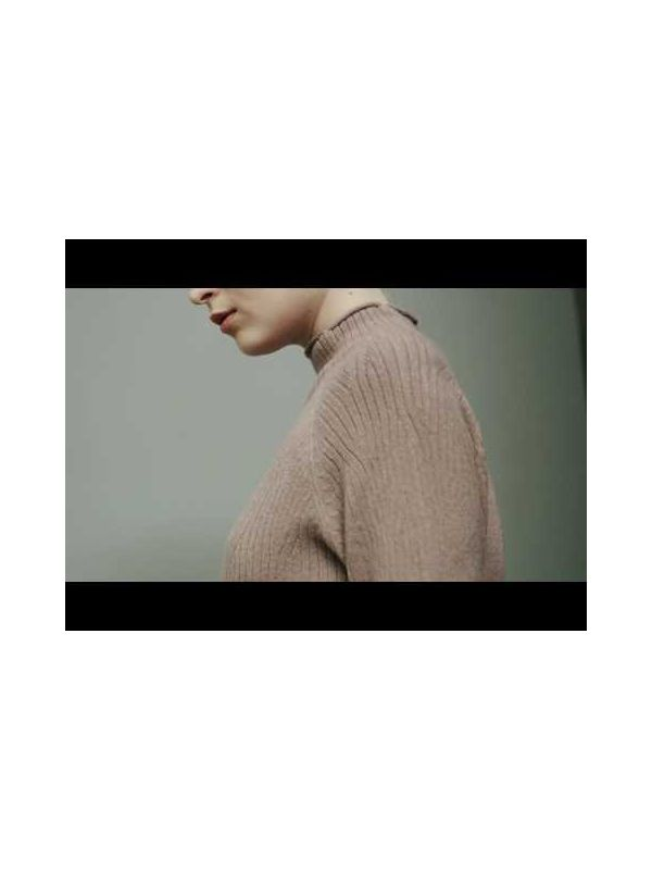 HIGHT COLLAR KNITTED SWEATER WITH BELT