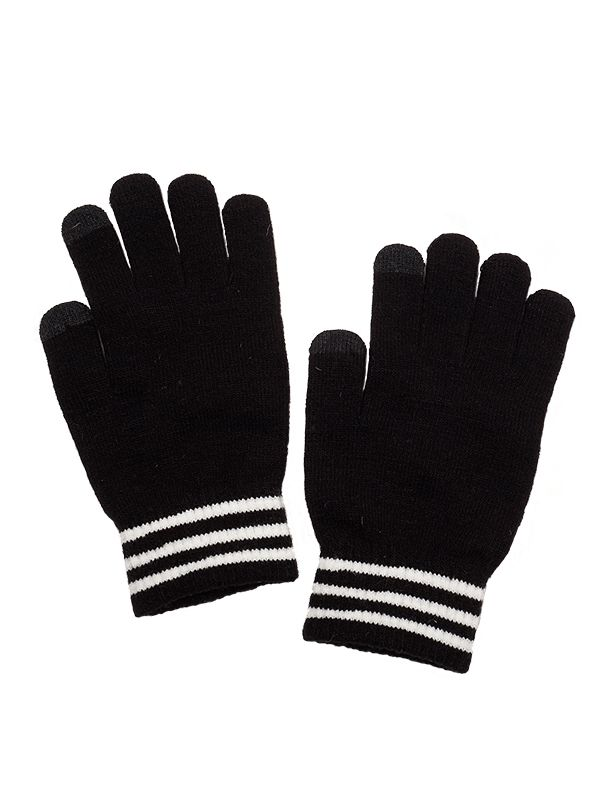 TOUCH SCREEN STRIPES CUFF KNIT GLOVES