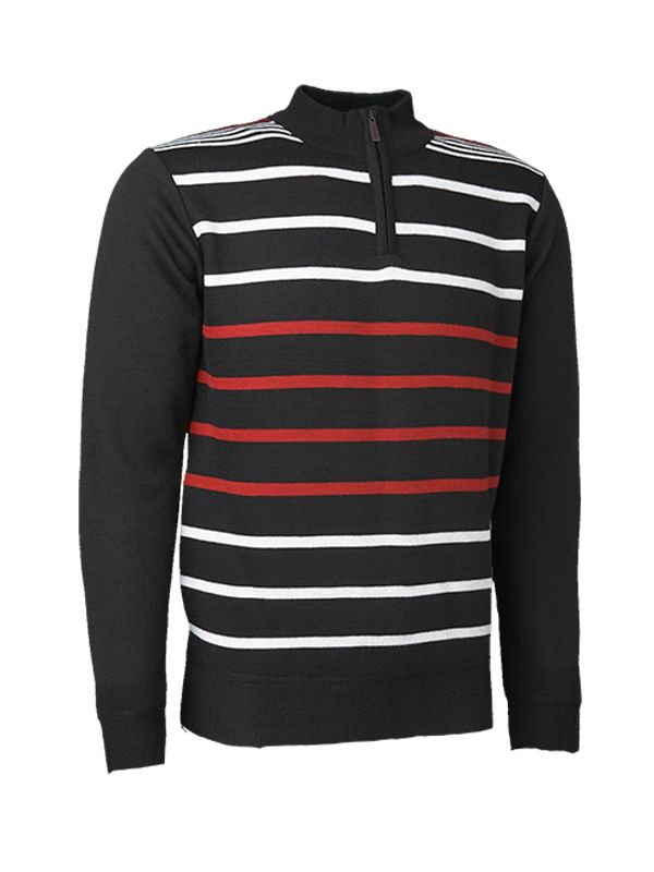 WHITE AND RED STRIPES KNITTED SWEATER