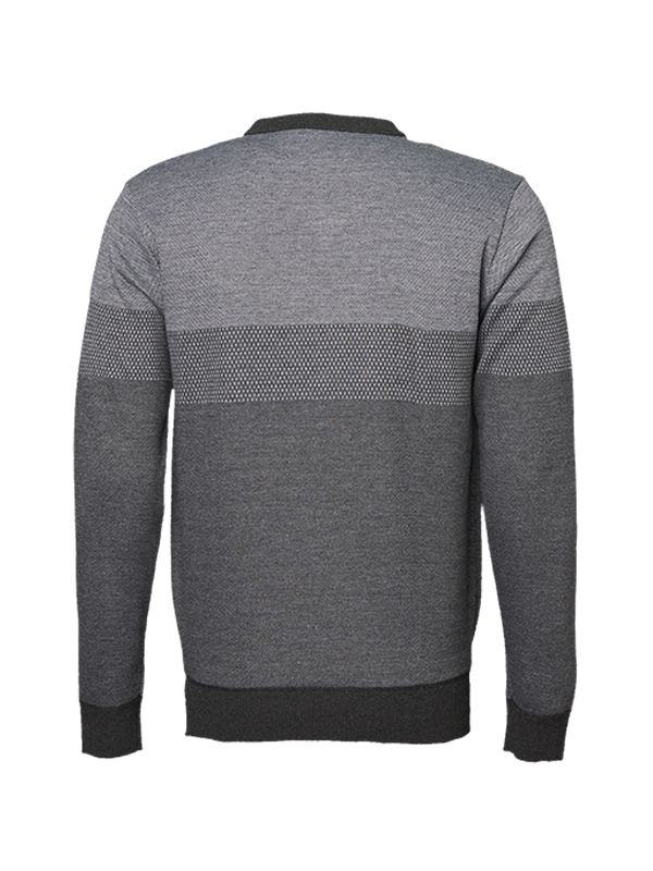 GREY TONE V-NECK KNITTED SWEATER