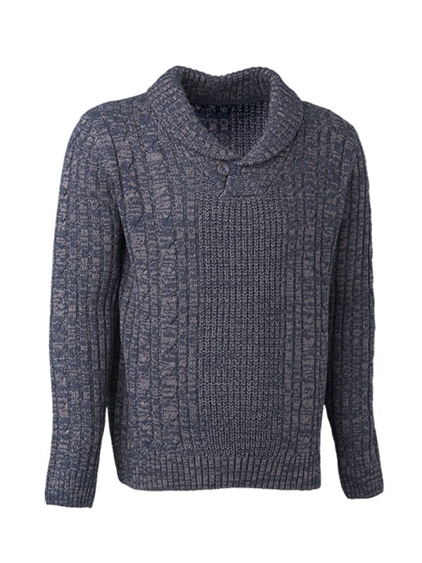 KNITTED SWEATER WITH SHAWL COLLAR
