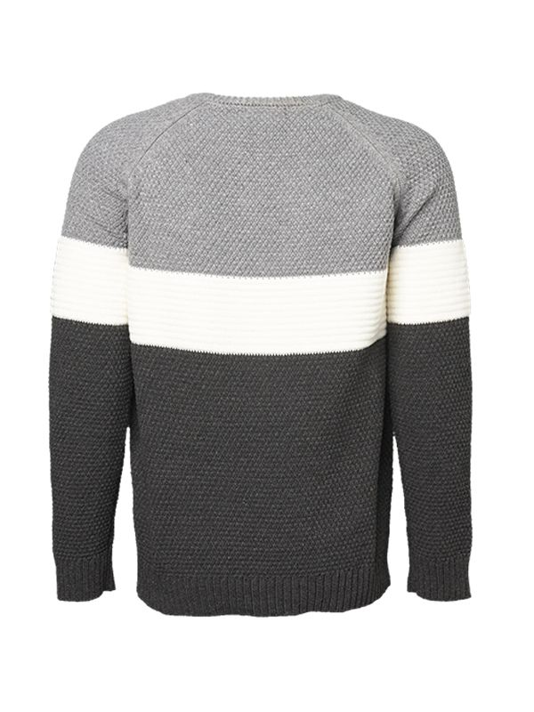 COLOR-BLOCKING KNITTED SWEATER
