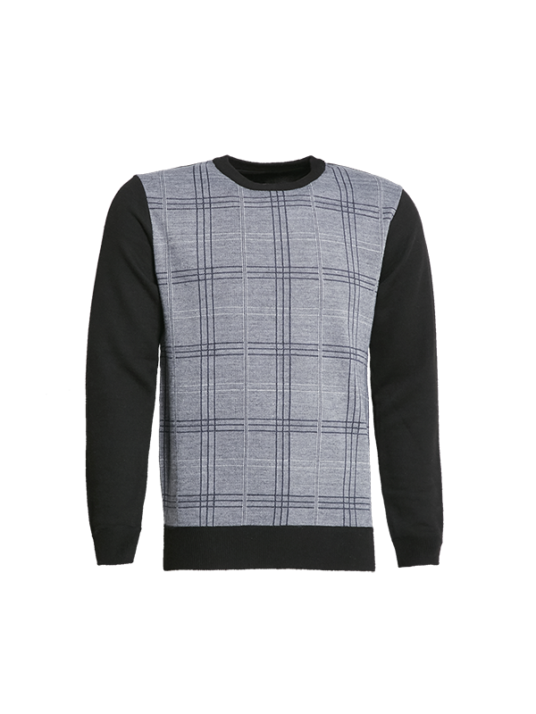 CREW NECK KNITTED SWEATER WITH CHECKS PRINT