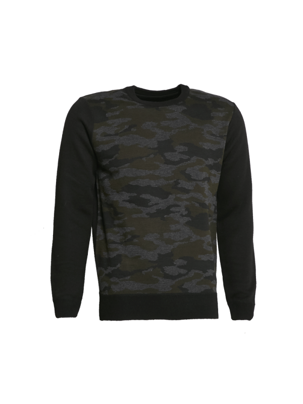 CREW NECK KNITTED SWEATER WITH CAMOUFLAGE PRINT
