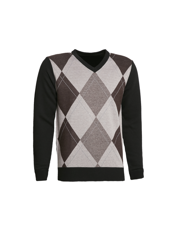 V-NECK KNITTED SWEATER WITH DIAMOND PRINT