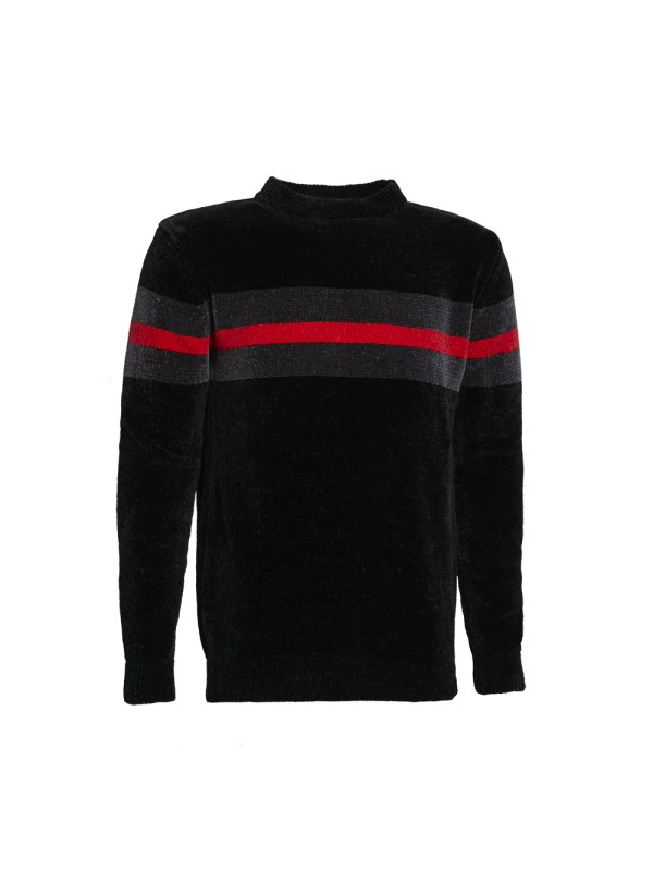 CREW NECK KNITTED SWEATER WITH STRIPE PRINT