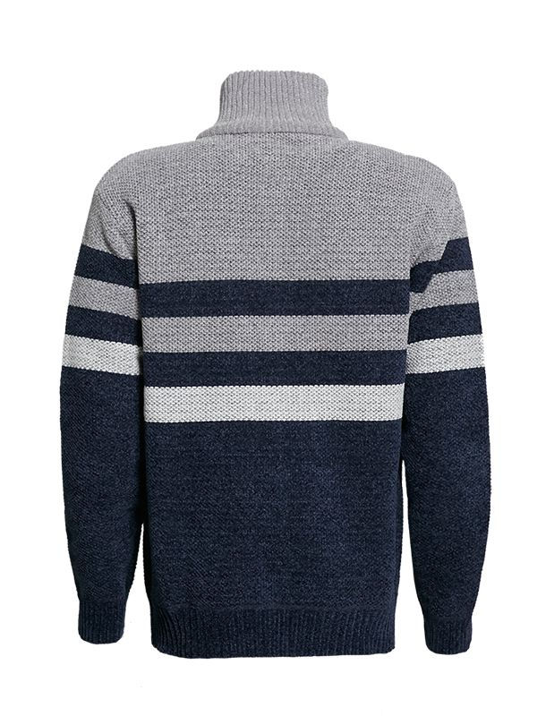 HENLEY MOCK NECK BONDED KNITTED SWEATER