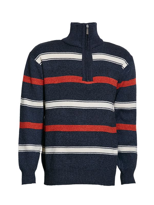 HENLEY MOCK NECK WITH ZIP KNITTED SWEATER