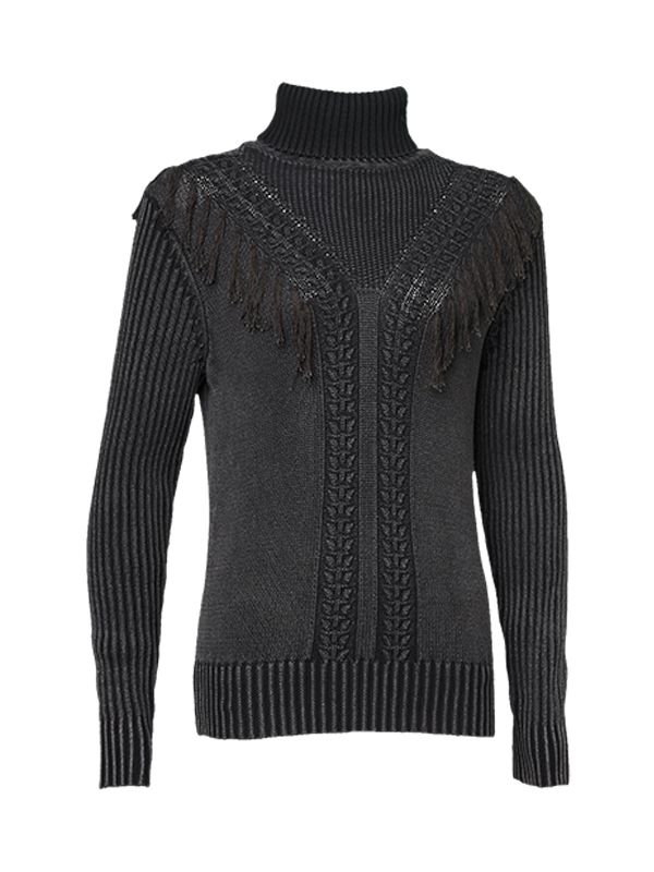 TURTLE NECK KNITTED SWEATER WITH TASSELES