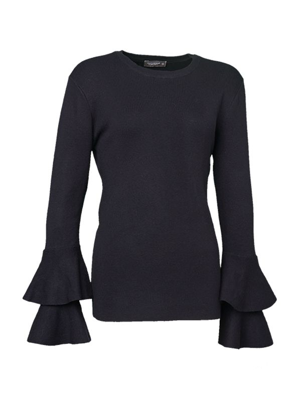 TRUMPET RUFFLE SLEEVES KNITTED SWEATER