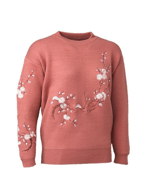 FLORAL EMBROIDERY KNIT SWEATER