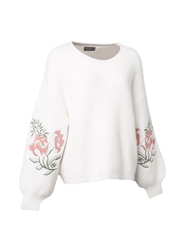 EMBROIDERY WITH BALLOON SLEEVES SWEATER