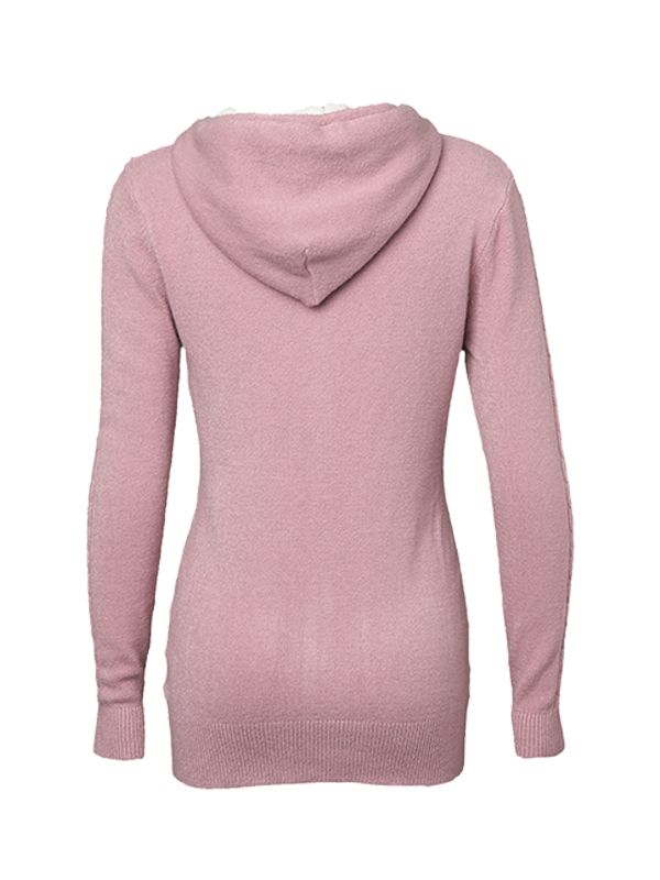 EMBOSSED KNITTED SWEATER WITH HOOD