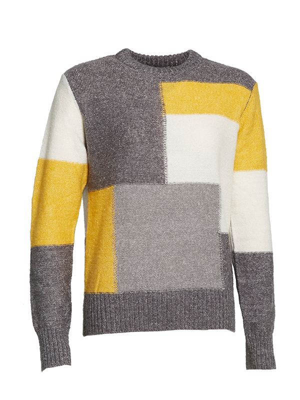 CREW NECK WOOL BLEND KNITTED SWEATER