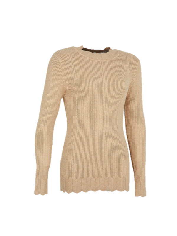 WAVY DETAILED NECKLINE KNITTED SWEATER