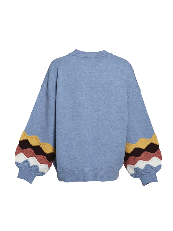 CREW NECK OVERSIZED KNITTED SWEATER WITH WAVY PATTERN SLEEVES