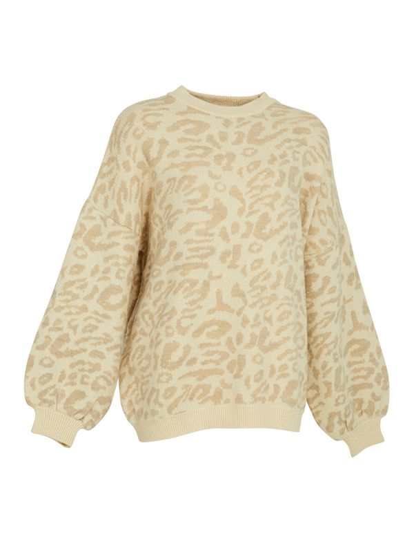 CREW NECK OVERSIZED KNITTED SWEATER WITH LEOPARD PRINT