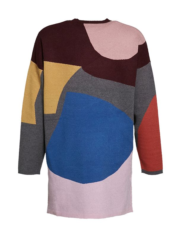 CREW NECK OVERSIZED KNITTED SWEATER WITH COLOUR BLOCKING DESIGN