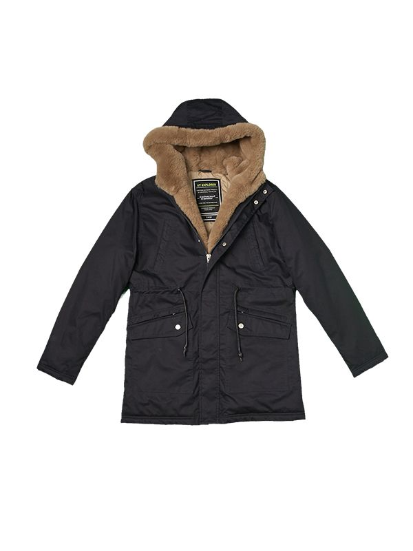 FAUX FUR COLLAE TRIM PADDED JACKET