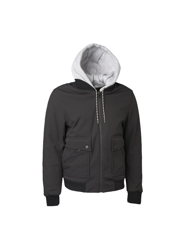 PADDED BOMBER JACKET WITH JERSEY HOOD