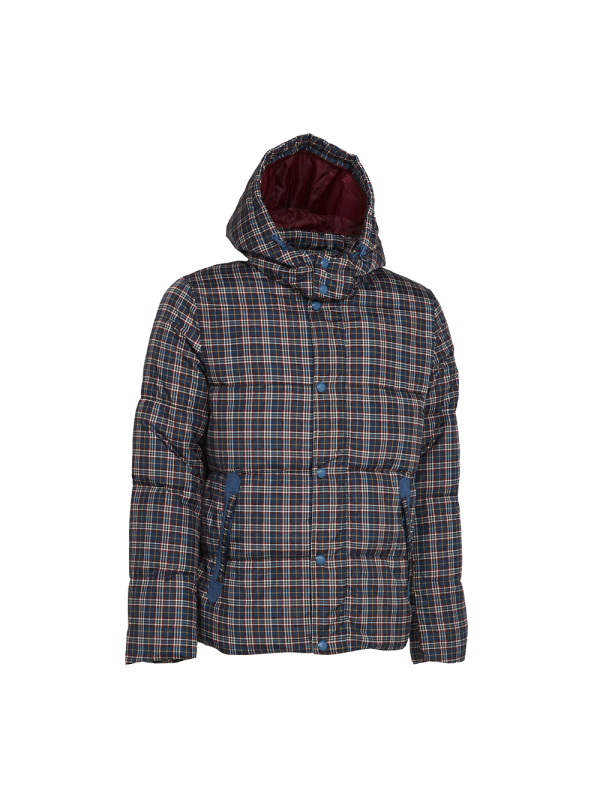 PUFFER JACKET WITH CHECKS PRINT