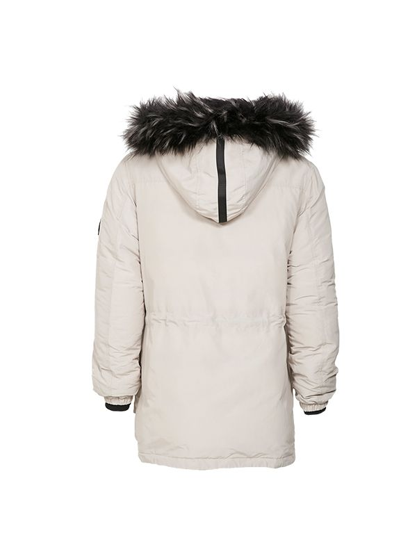 OUTDOOR PUFFER JACKET WITH OVERSIZED FAUX FUR HOOD