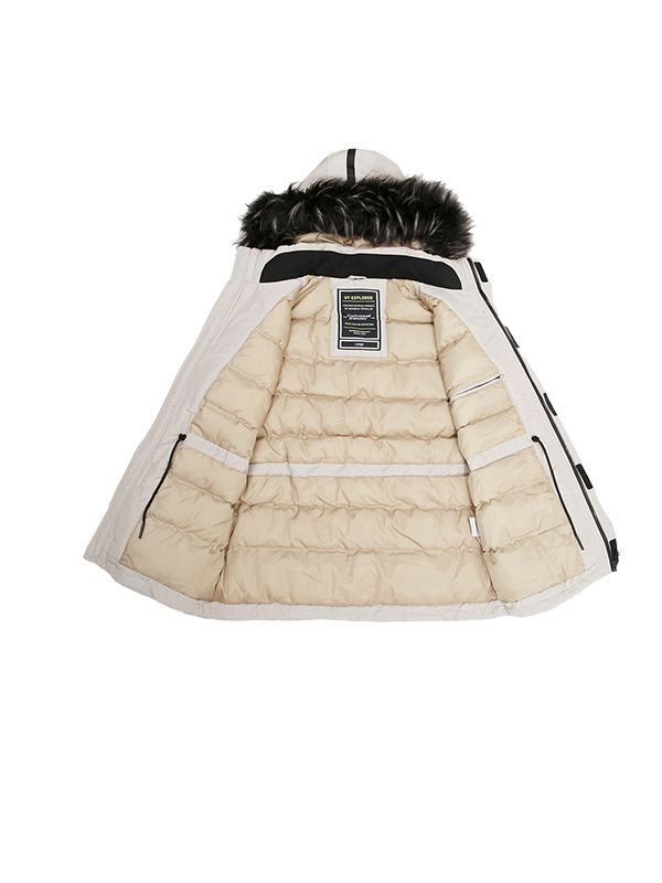 OUTDOOR PADDED JACKET WITH OVERSIZED FAUX FUR HOOD